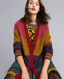 Maxicardigan aus Moulinégarn in Color-Block-Verarbeitung Mehrfarbiger Mouliné Frau YA831A-01