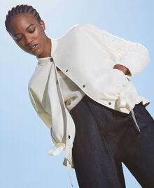 Бомбер из искусственной кожи с вязаными рукавами Бело-кремовый женщина 202MP2520-03