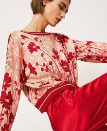 Cardigan-Pullover mit Blumendessin Blumen-Animal-Dessin Pfirsich / Kirschrot Frau 202TP3500-03