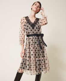Tulle dress with lace and belt Nude Beige Polka Dot Print Woman 202ST2064-05