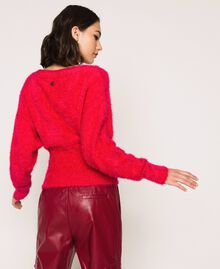 Fur effect yarn jumper Black Cherry Woman 201TP3092-04