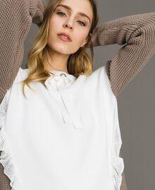 """Maxi maglia con volants Bicolore Bianco Ottico / Grigio """"Grey Dust"""" Donna 191LL37LL-04"""