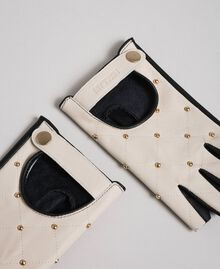 "Two-tone leather gloves with studs Black / ""Vanilla"" White Woman 192MO5393-02"