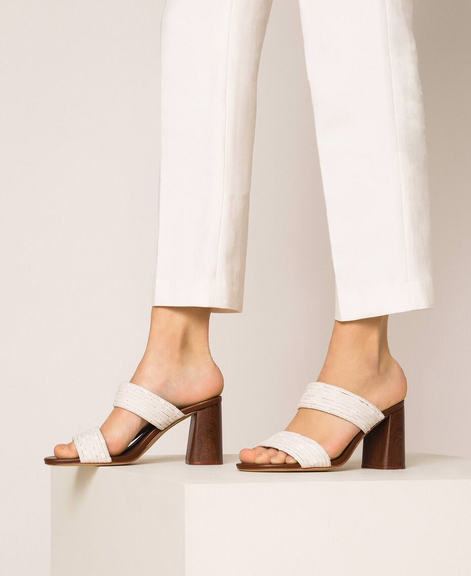 Mules with broderie anglaise bands Ivory Woman 201LMPZTT-0S