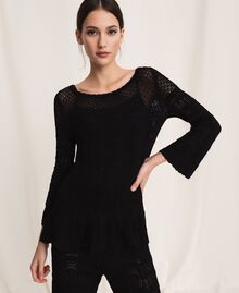 Lace stitch jumper Black Woman 201TP3211-01