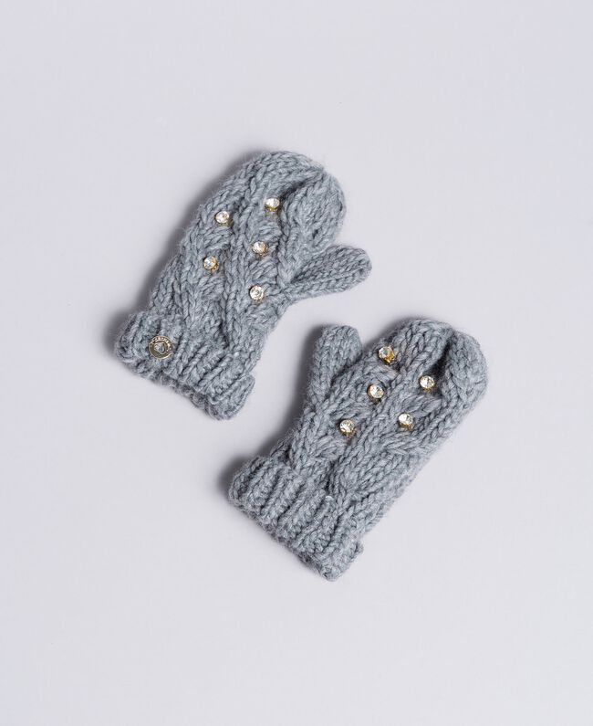 Knitted braided mittens with rhinestones Light Gray Mélange Child GA8GCT-01