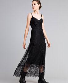 Robe longue en dentelle de Valenciennes multicolore Noir Femme PA82FP-01