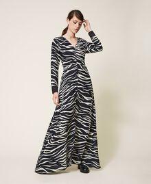 Animal print crêpe de Chine dress Black / Cream White Zebra Print Woman 202MP2430-06