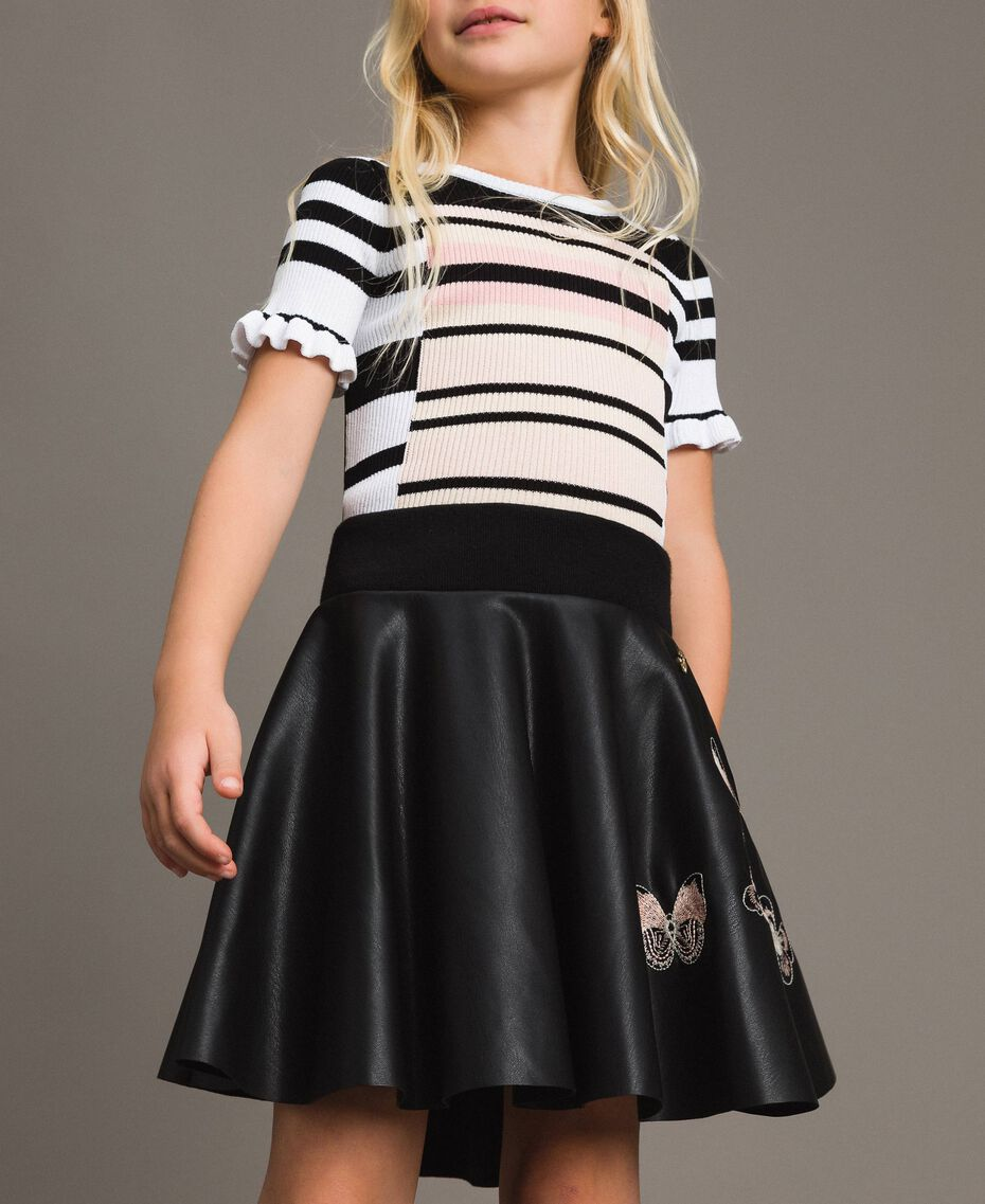 Faux leather skirt with butterflies Black Child 191GJ2261-0S