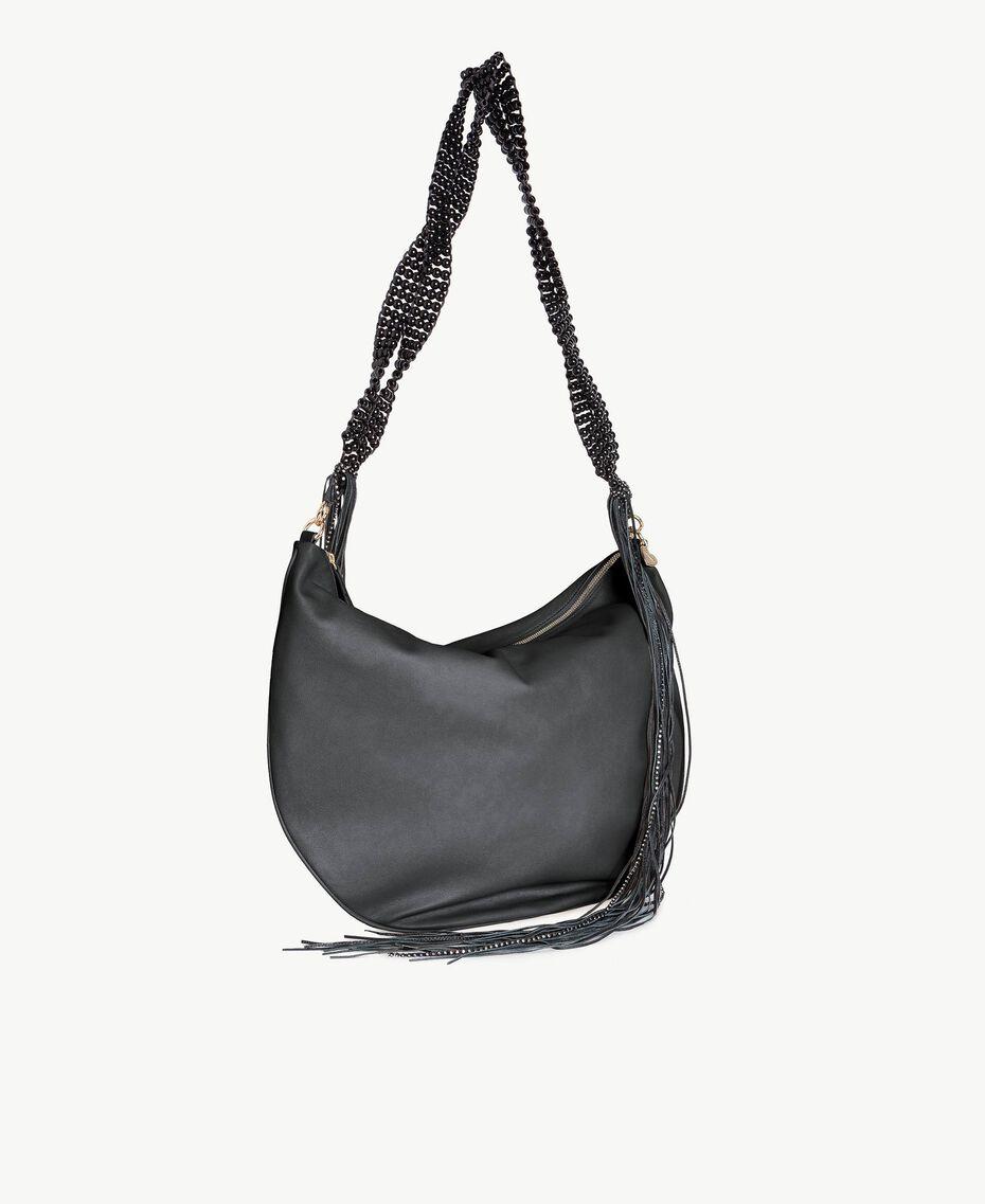 TWINSET Fringed hobo bag Black Woman OS8TDA-02