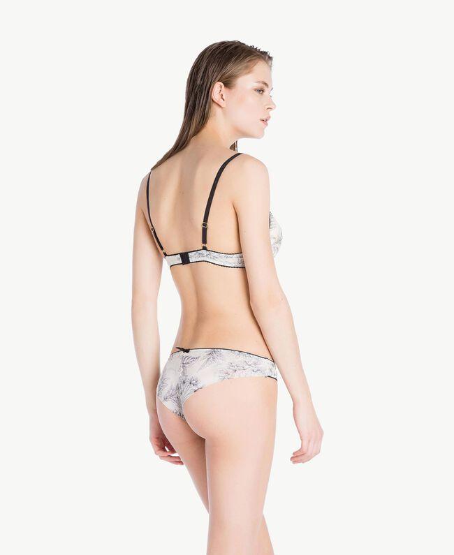 Slip brésilien tulle Imprimé Grande Fleur Blanc Optique Femme LS8D77-04