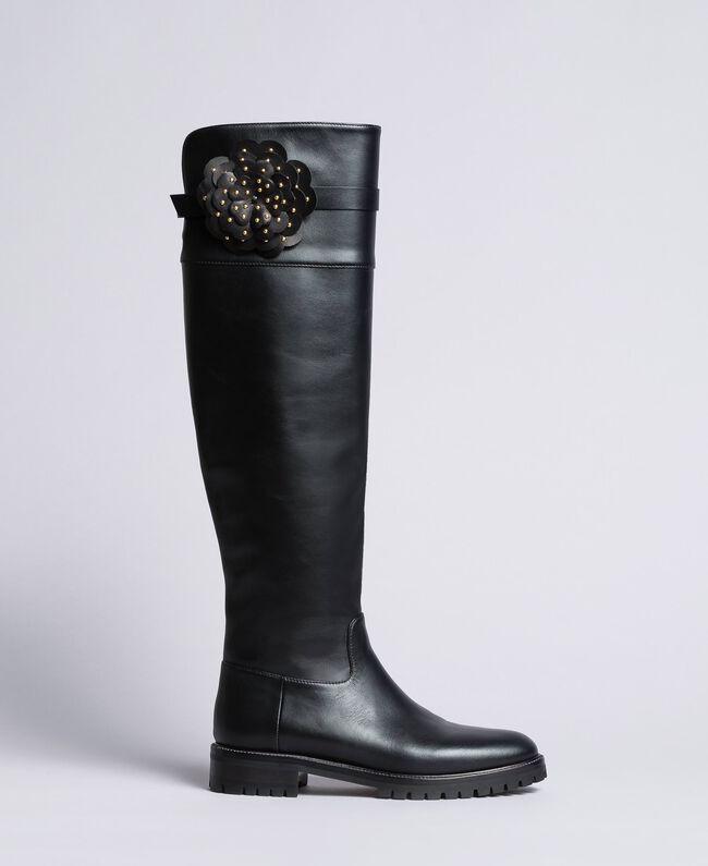 Stivali cuissardes in pelle con fiore Donna, Nero | TWINSET