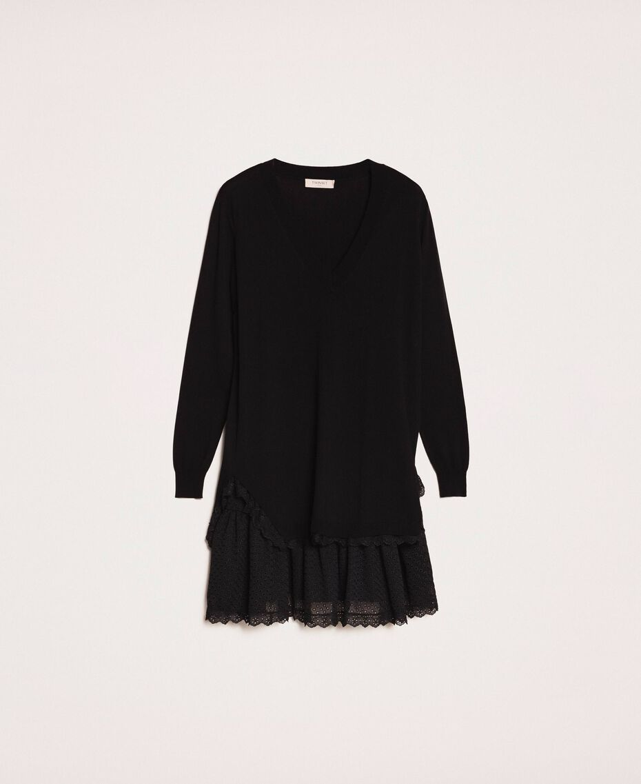 Knitted dress with broderie anglaise flounce Black Woman 201TP3041-0S