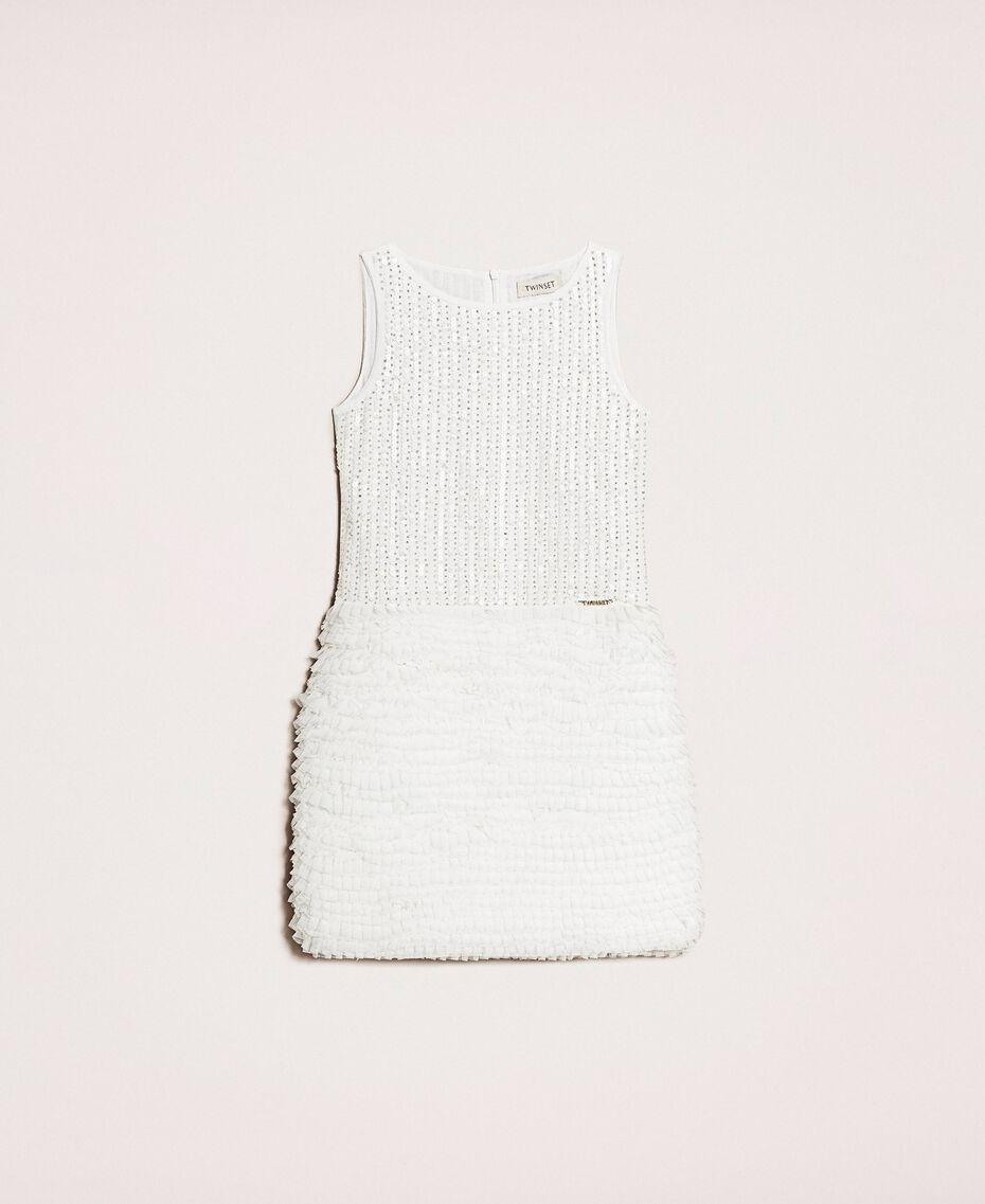 Sequin embroidery and tulle dress Off White Child 201GJ2Q6A-0S