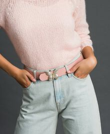 Leather belt with butterfly buckle, regular Mousse Pink Woman 192TA430F-0S