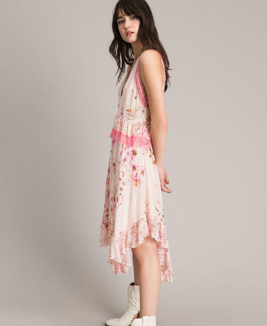 """Robe en georgette à motif floral avec dentelle Imprimé Rose """"Bouton De Rose / Peach Mix"""" Femme 191TP2712-02"""