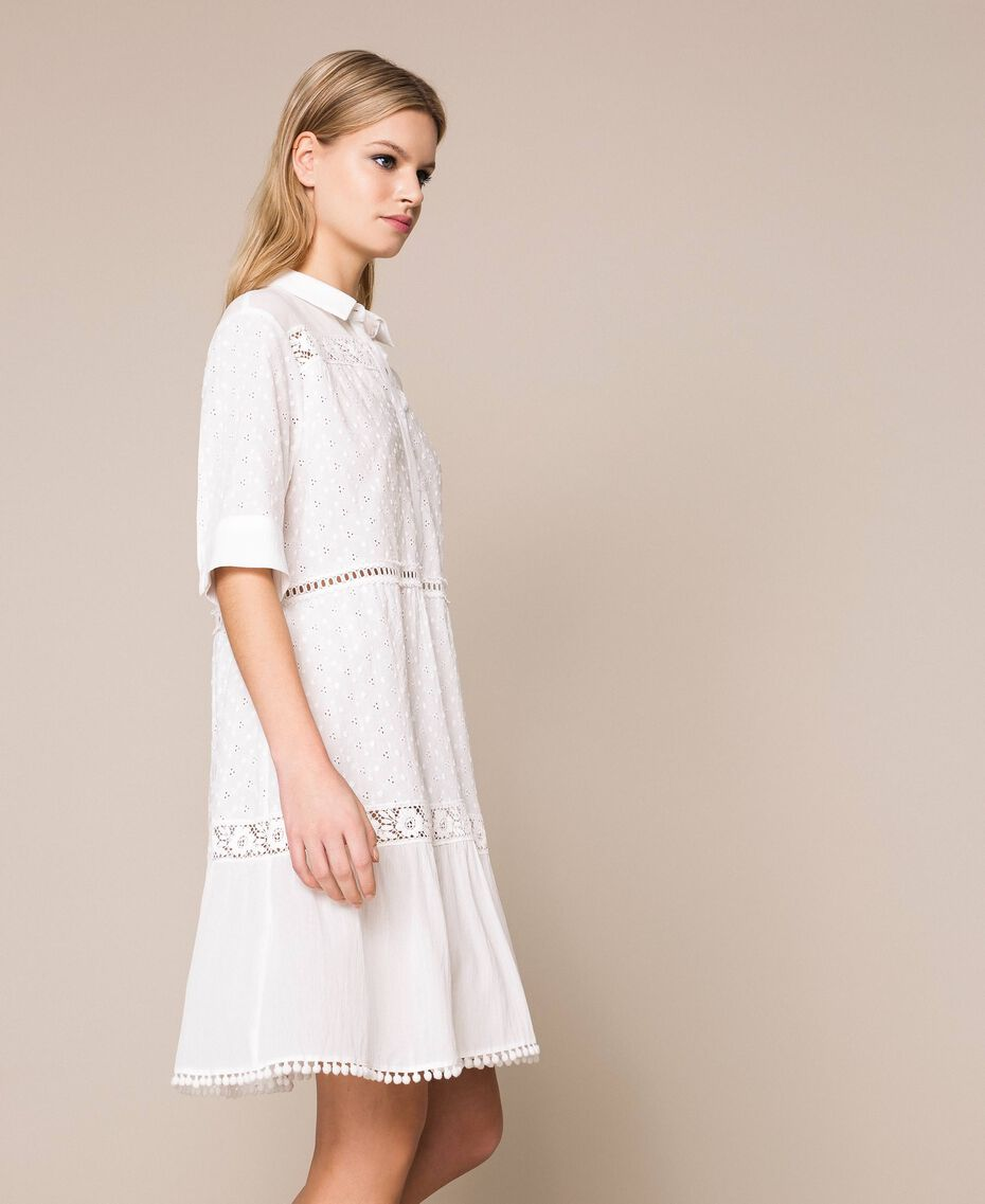 Broderie anglaise shirt dress with lace White Woman 201LM2LCC-02