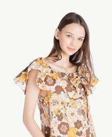Kleid mit Print Flacher Blumenprint Seilbeige Frau SS82PD-04