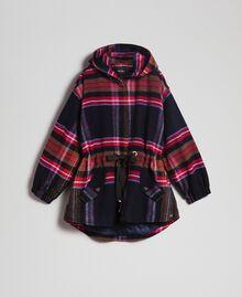 Parka en drap de laine mélangée à carreaux Carreaux Bleu Denim Femme 192MT2251-0S