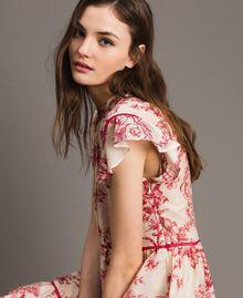 Kleid aus Seidenmischung mit Blumenprint Motiv Toile De Jouy Rot Frau 191TT2404-01