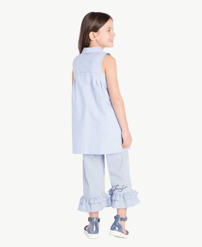 Kleid mit Raffung Jacquard Unendlichkeits-Azur Kind GS82QA-04