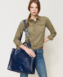 "Large leather Twinset Bag shopper ""True Navy"" Blue Croc Print Woman 202TB7110-0S"