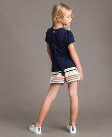 T-shirt en viscose avec imprimé et strass Indigo Enfant 191GJ2450-05