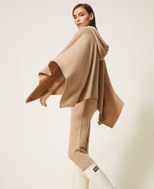 """Wool and cashmere poncho """"Pastel Skin"""" Beige Woman 202TT3013-04"""