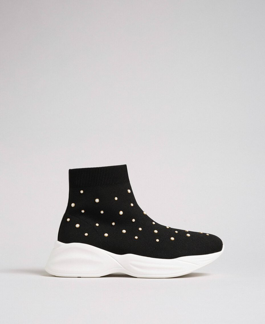 Sock-Sneakers aus Gestrick mit Perlenverzierung Schwarz Frau 192MCP06C-02