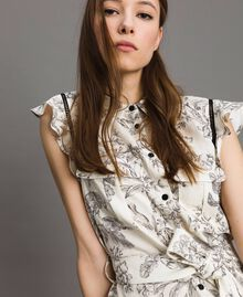 Robe chemise imprimée en lin Imprimé Toile De Jouy Noir Femme 191TT2460-04