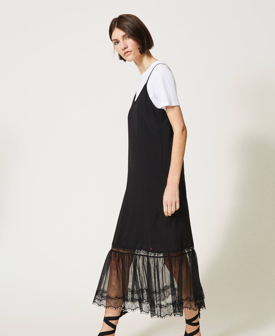 Slip dress with ladybug embroidery and T-shirt Black Woman 202TP2808-03