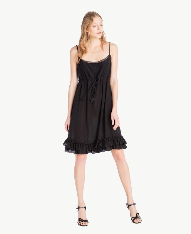 Kleid aus Seide Schwarz Frau TS82UA-01