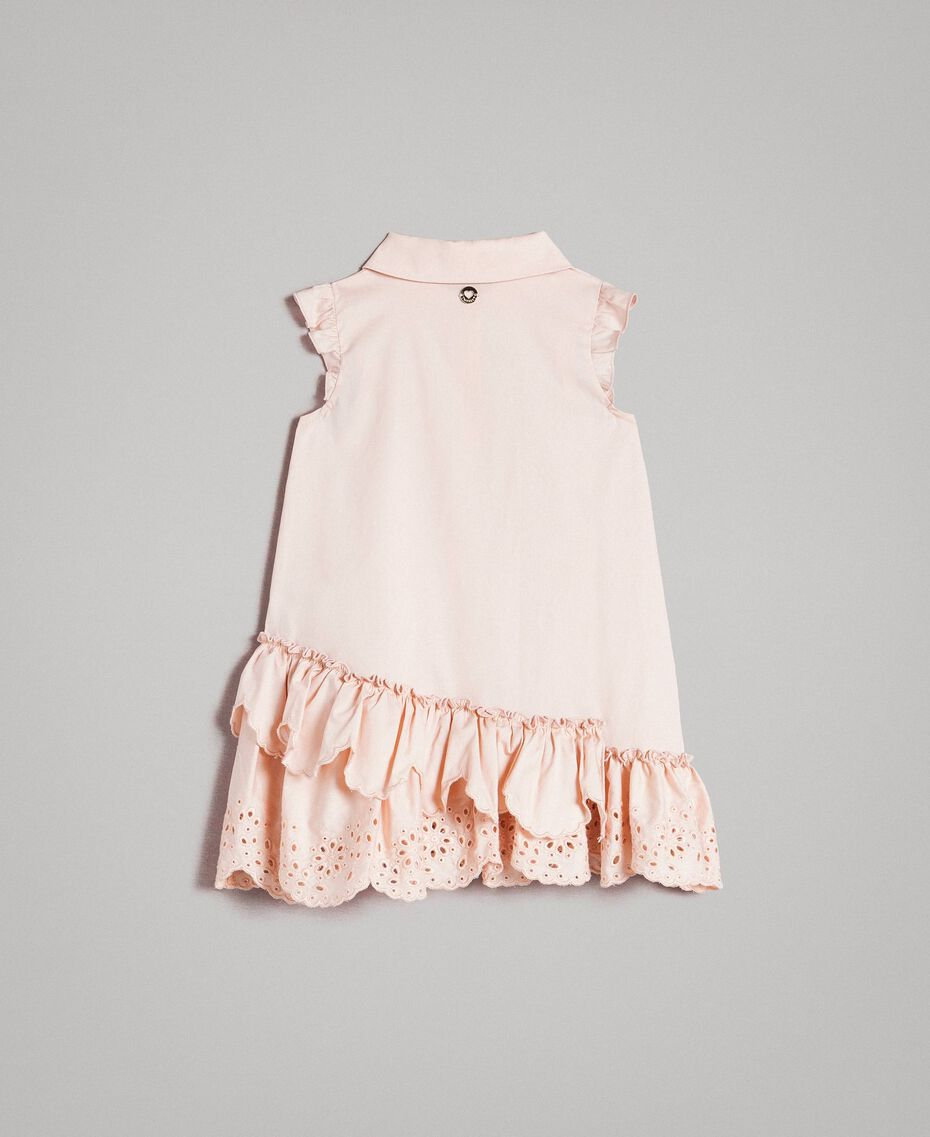 Poplin shirt dress with broderie anglaise Blossom Pink Child 191GB2190-0S