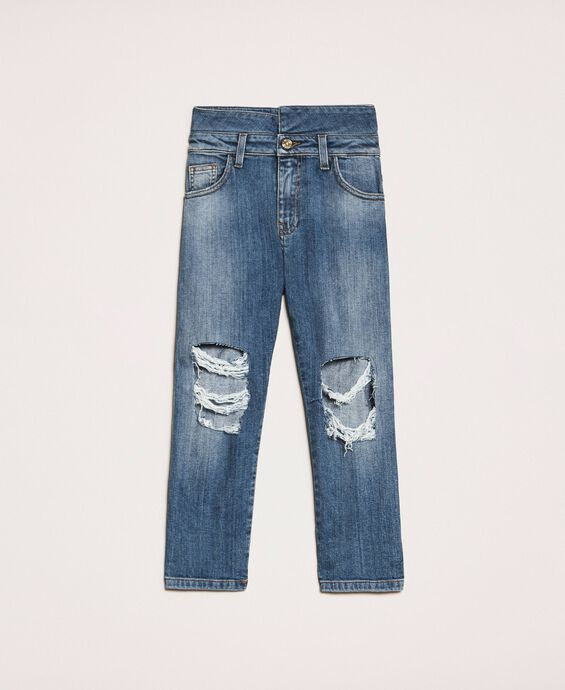 High waist jeans with rips