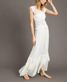 Long skirt with crochet insert Ivory Woman 191LM2NEE-02