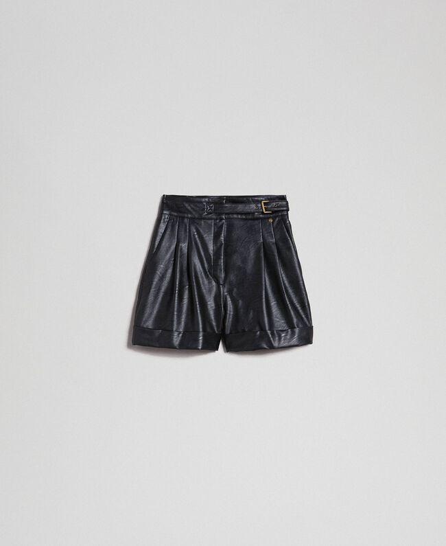 Short en similicuir Noir Femme 192TT203A-0S