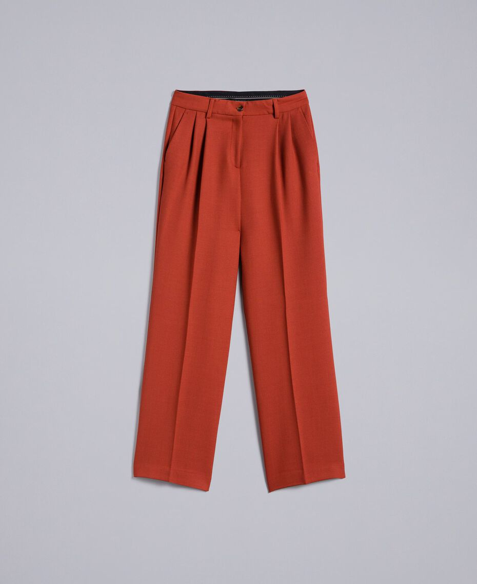 Pantaloni palazzo in lana bistretch Bruciato Donna TA8272-0S