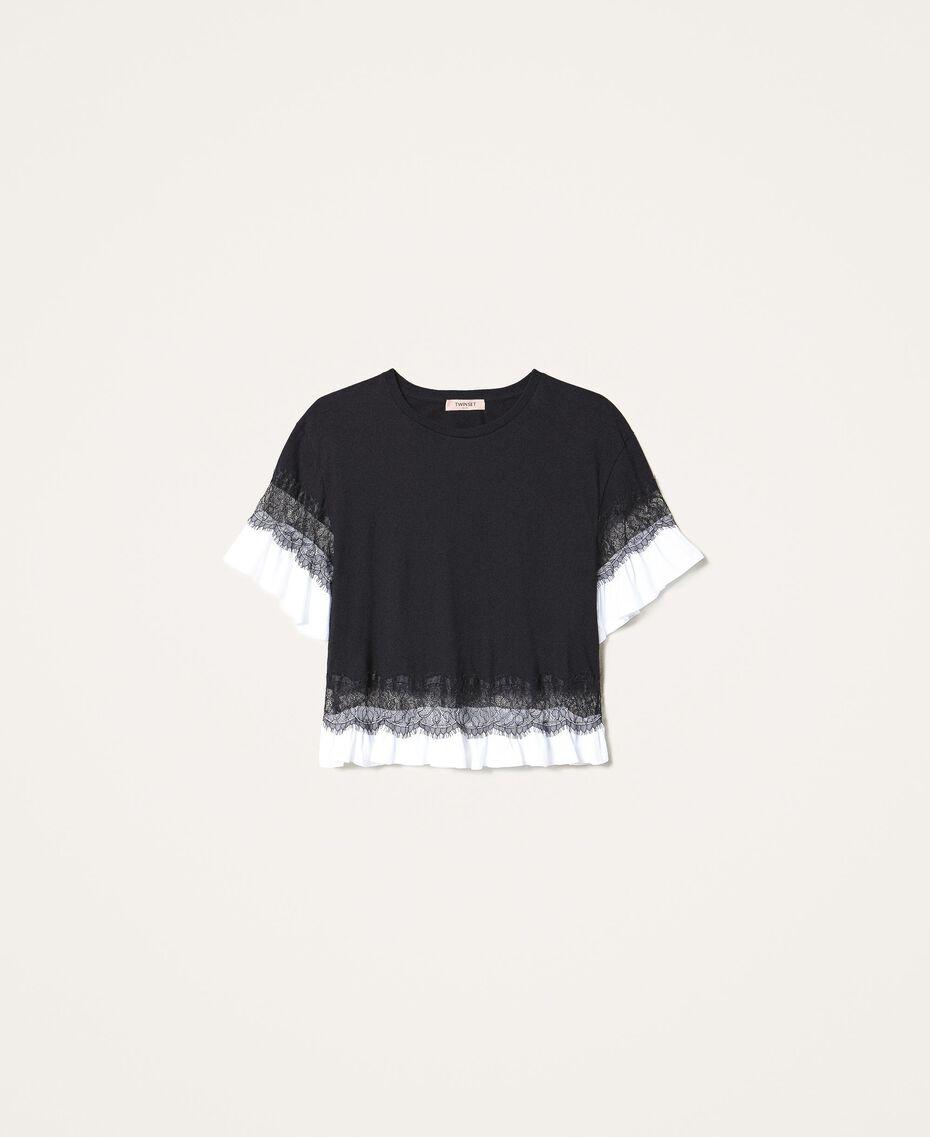 T-shirt con pizzo e balza Bicolor Nero / Bianco Ottico Donna 202TP2671-0S