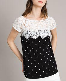 T-shirt a pois con pizzo Bicolore White / Nero Donna 191MP2064-02