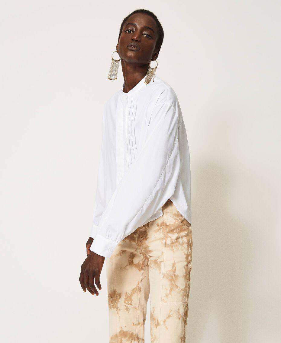 Camicia in popeline con pieghe Bianco Donna 211TT245C-03