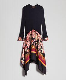 Kleid aus Mohair und bedrucktem Twill Schwarz / Foulardprint Frau 192TP3060-0S