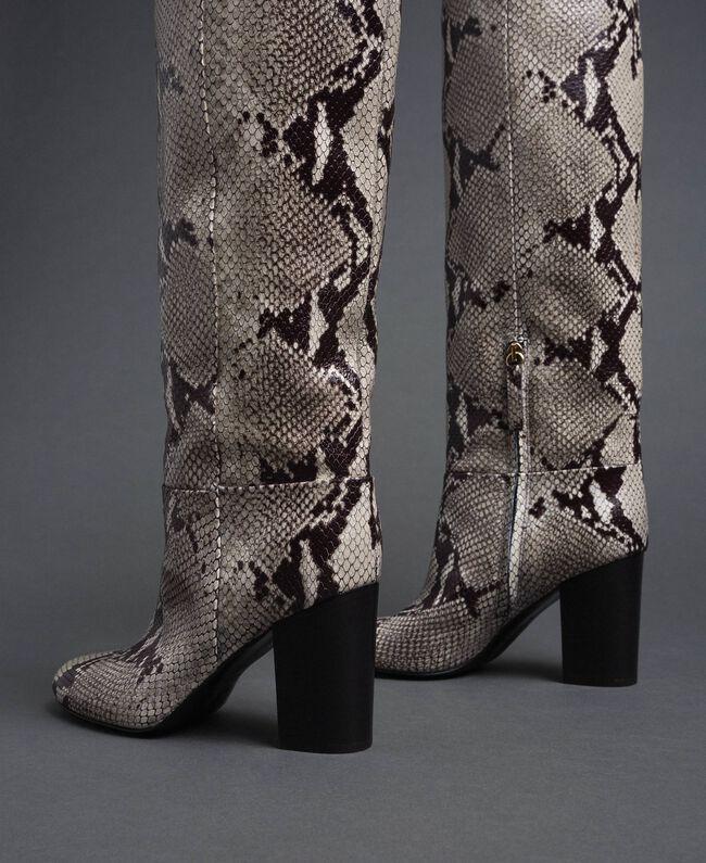 Кожаные сапоги с животным принтом Принт Питон Скала женщина 192TCT010-04