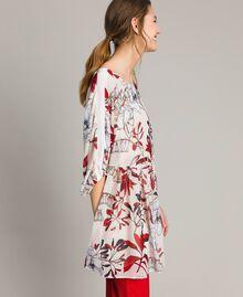 Tunikakleid aus Georgette mit Blumenprint Motiv Exotisch Ecru Frau 191ST2222-01