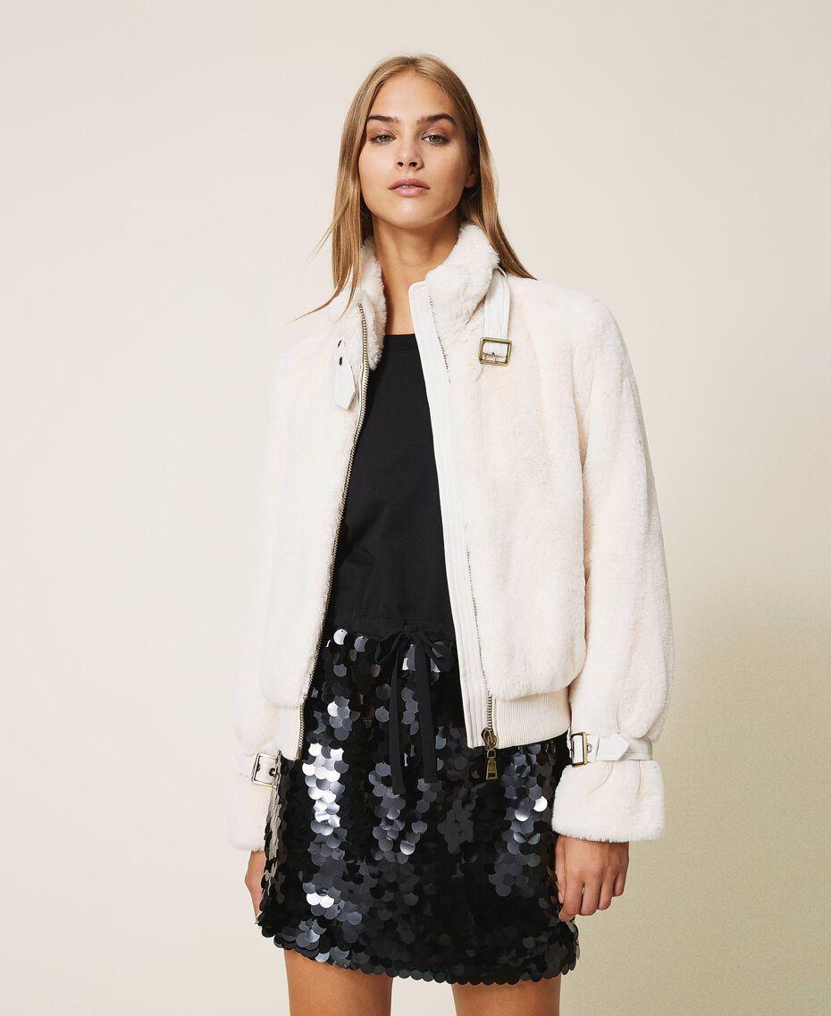 Faux fur jacket Creamy White Woman 202MP203A-01