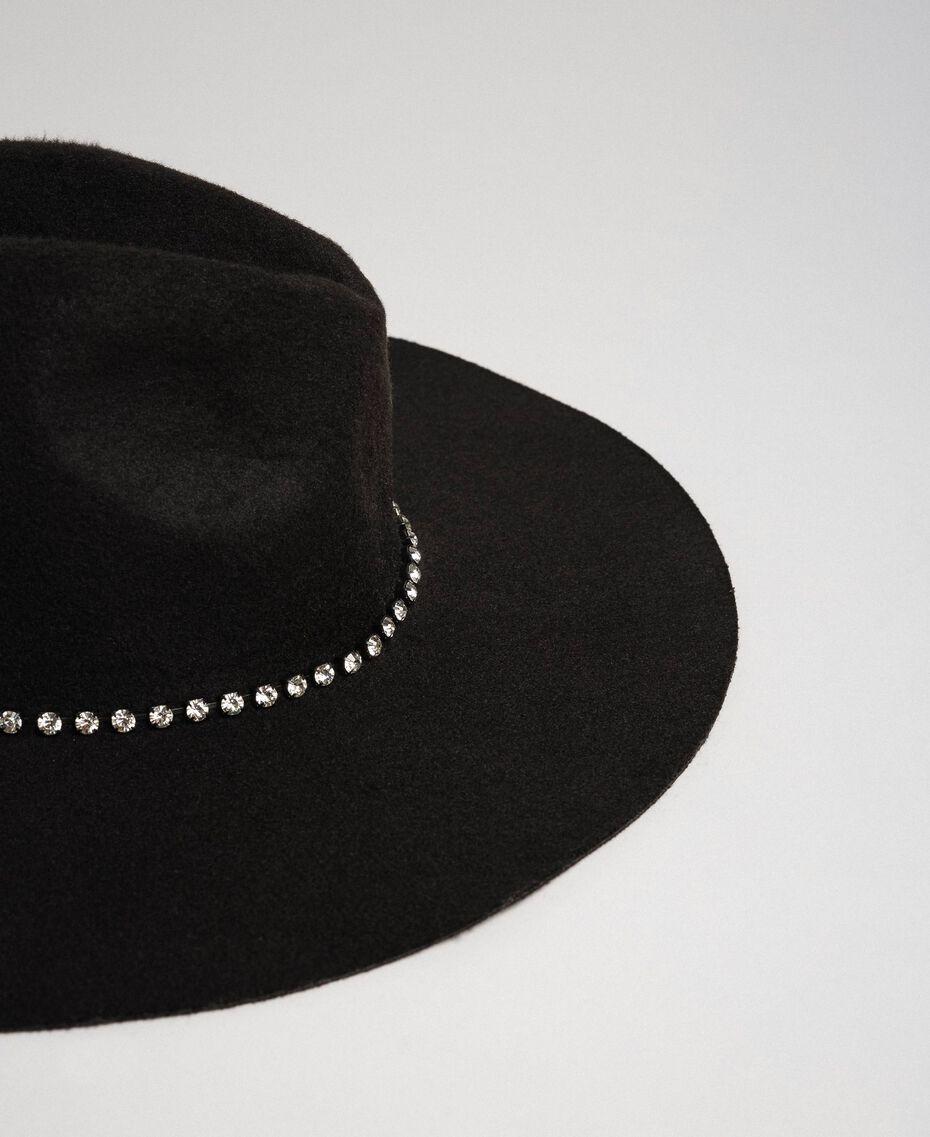 Hut mit breiter Krempe und Strass Schwarz Frau 192TA4391-02