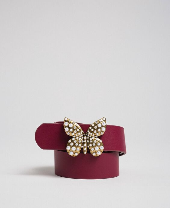 Leather belt with butterfly, regular