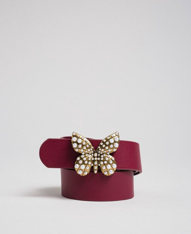 Leather belt with butterfly, regular Beet Red Woman 192TA4307-01