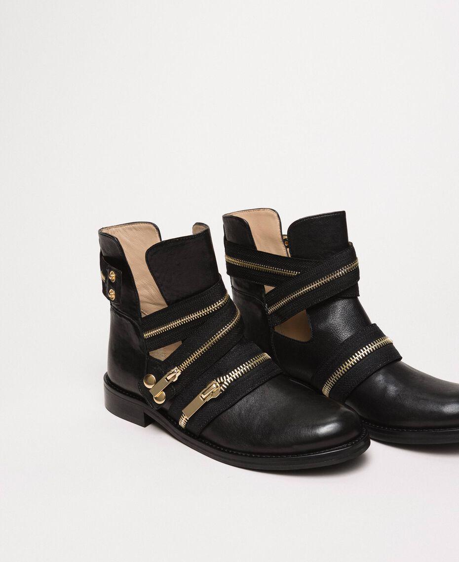 Кожаные байкерские ботинки с молниями Черный женщина 201TCP104-02