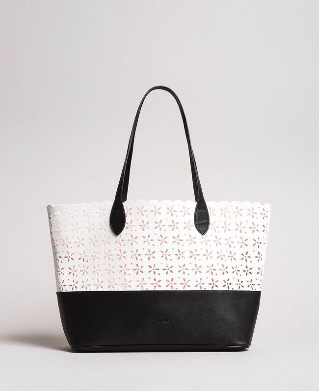 Cabas en similicuir avec motif floral Bicolore Blanc Neige/ Noir Femme 191TA7160-01