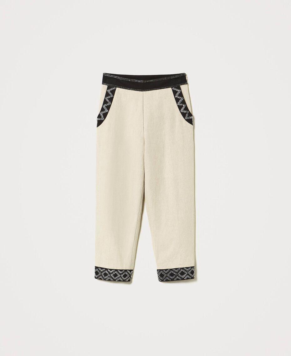 Pantalon en lin mélangé avec broderies Bicolore Beige «Dune» / Noir Brodé Femme 211TT2614-0S